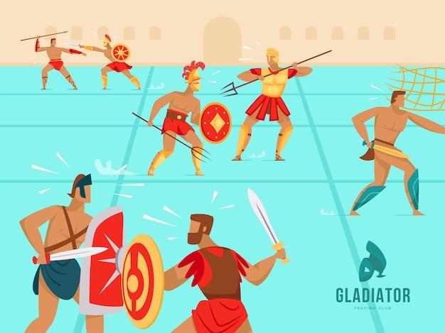 Gladiadores luchando en el coliseo ilustración plana