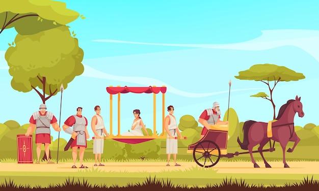 Gladiadores romanos antiguos y mujer sentada en dibujos animados de palanquín