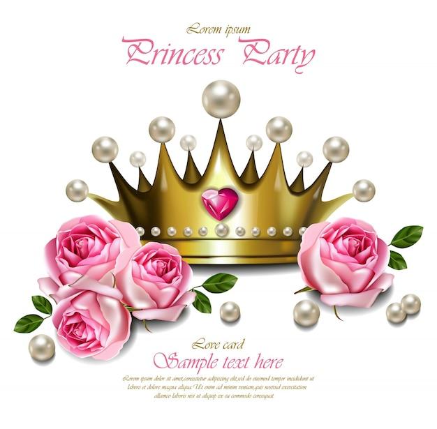 Glamorosa corona de oro con perlas, hermosa tarjeta real