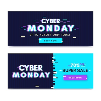 Glitch banners de lunes cibernético