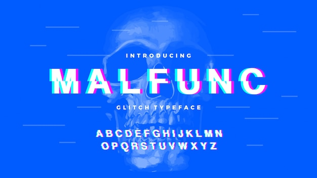 Glitch bold clean font letter set malfunc typeface