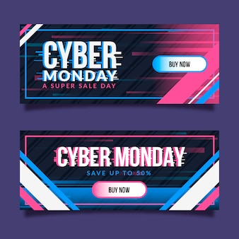 Glitch cyber lunes plantilla de banners