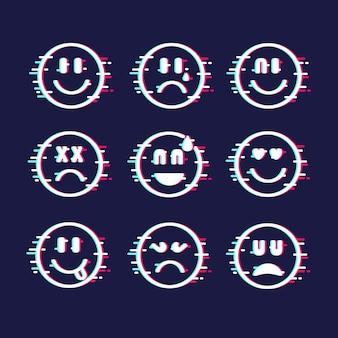 Glitch emojis collection