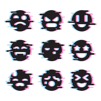 Glitch emojis pack