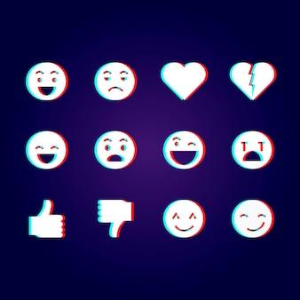 Glitch emojis paquete de ilustraciones