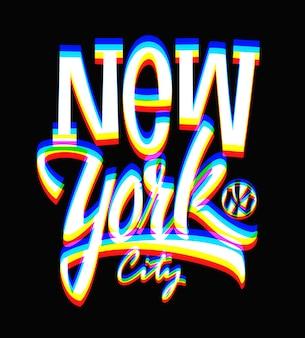 Glitch etiqueta de la ciudad de nueva york, diseño tipográfico.