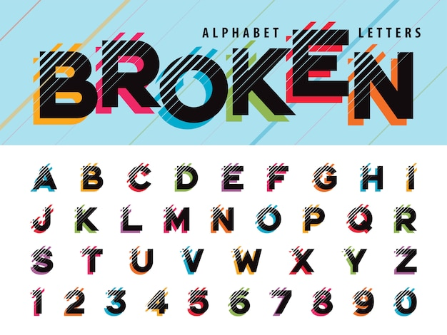 Glitch letras y números del alfabeto moderno