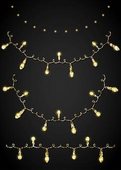 Glitter adorno dorado y guirnalda