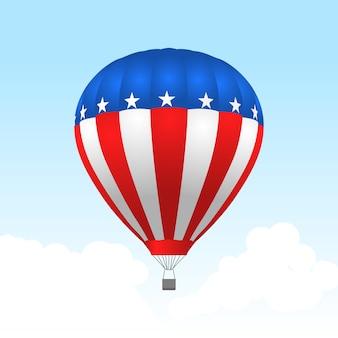 Globo aerostático americano con estrellas y rayas.