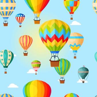 Globo aerostático colorido, patrón, transporte aéreo para viajes, ocio y entretenimiento, ilustración de estilo.