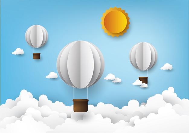 Globo aerostático, estilo gráfico artesanal digital.