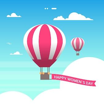 Globo aerostático rosado en el cielo con mujeres felices día 8 de marzo tarjeta de felicitación en estilo retro
