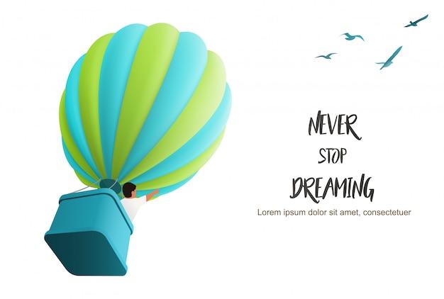 Globo de aire caliente en el cielo con un niño en la canasta dirigiendo hacia arriba siguiendo a las aves, ilustración para motivar la plantilla de la página de aterrizaje