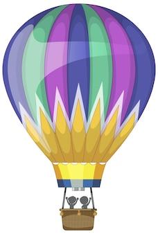 Globo de aire caliente colorido en estilo de dibujos animados aislado