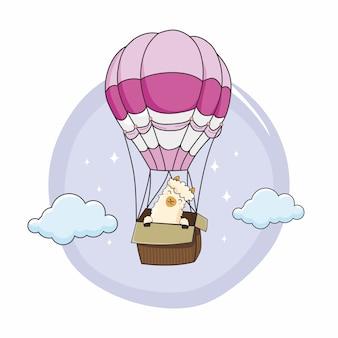 Globo de aire caliente de dibujos animados de alpaca