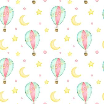 Globo de aire caliente de dibujos animados con guirnaldas en el cielo entre la luna y las estrellas de patrones sin fisuras