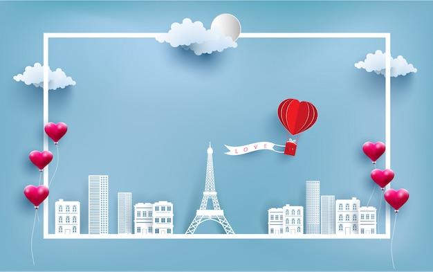 Globo de aire caliente llevando banderas de amor