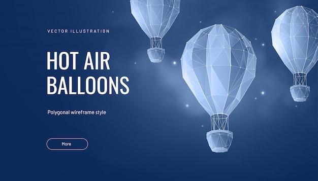 Globo de aire caliente poligonal. concepto de vuelo, viaje o aventura.