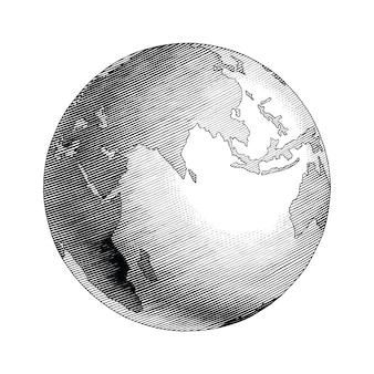 Globo antiguo dibujo a mano estilo vintage imágenes prediseñadas en blanco y negro aislado