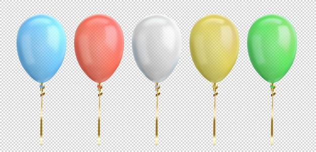Globo azul, rojo, blanco, amarillo, verde. globo realista brillante para fiesta de cumpleaños.