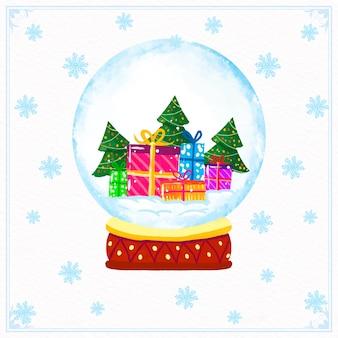 Globo de bola de nieve de navidad acuarela