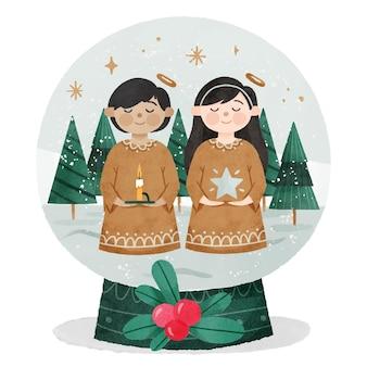 Globo de bola de nieve de navidad en acuarela