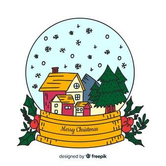 Globo de bola de nieve de navidad dibujado a mano sobre fondo blanco