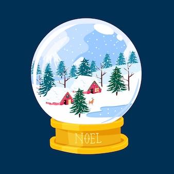 Globo de bola de nieve de navidad dibujado a mano