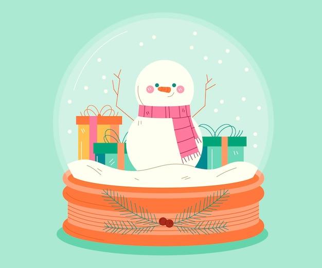 Globo de bola de nieve de navidad dibujado con muñeco de nieve