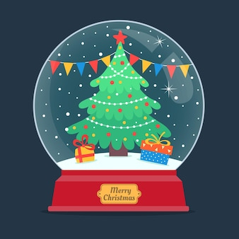 Globo de bola de nieve de navidad de diseño plano con árbol de navidad