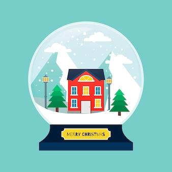 Globo de bola de nieve de navidad de diseño plano