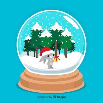 Globo de bola de nieve de navidad plana