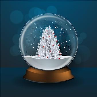 Globo de bola de nieve de navidad realista