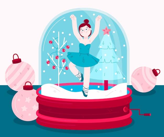 Globo de bola de nieve navideño dibujado con bailarina