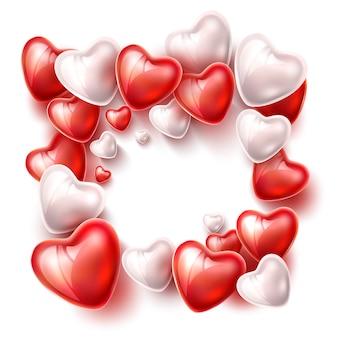 Globo corazón cinta de seda patrón realista para el día de san valentín o romántico