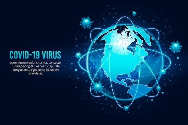Globo de coronavirus rodeado de virus