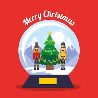Globo de cristal navideño con cascanueces