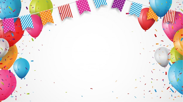 Globo de cumpleaños colorido con banderas del empavesado y fondo de confeti