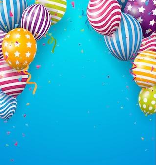 Globo de cumpleaños con confeti de colores sobre fondo azul.