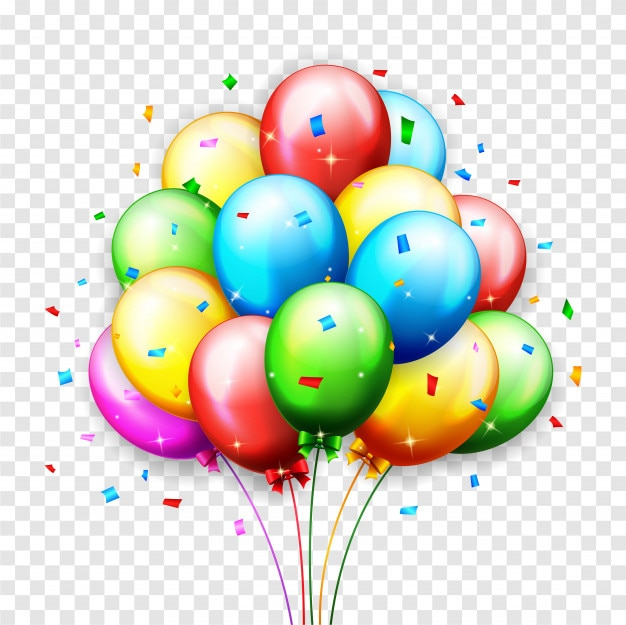 Globo de cumpleaños con fondo de confeti
