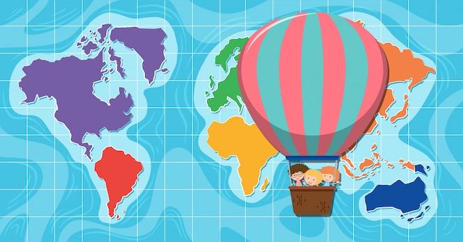 Globo de aire caliente delante del mapa