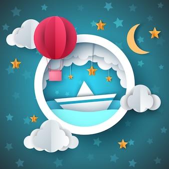 Globo de aire, ilustración de la nave. paisaje de mar de dibujos animados.
