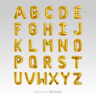 Globo de oro del alfabeto