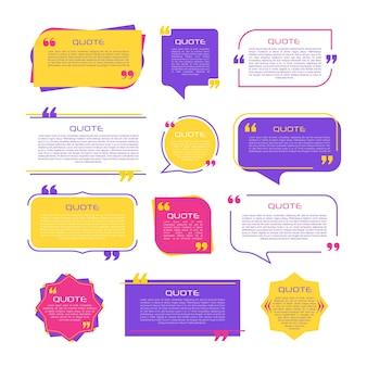 Globo de diálogo con comillas piensa hablar hablar comas marcos de cotización plantillas en blanco en fondo blanco bordes de mensaje de comentario de burbuja cuadros banners observación