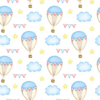 Globo de dibujos animados con guirnaldas en el cielo entre nubes y estrellas de patrones sin fisuras