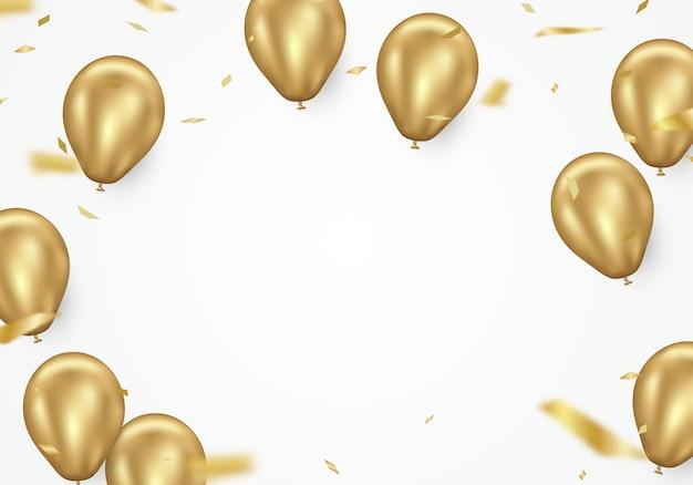 Globo dorado y confeti soplado en blanco