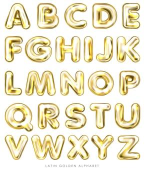 Globo dorado, símbolos del alfabeto inflados.