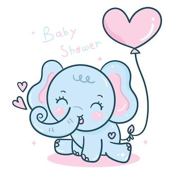 Globo de elefante con globo de corazón
