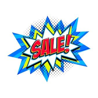 Globo de explosión de venta azul cómico - banner de promoción de descuento de estilo pop art.