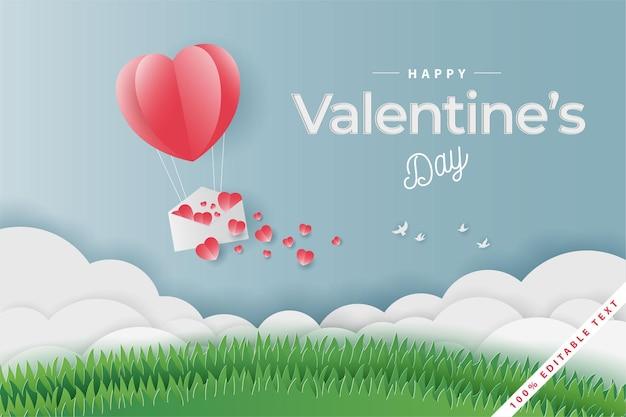 Globo de feliz día de san valentín, carta de amor y césped de campo, estilo de corte de papel
